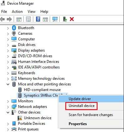 Uninstall the Touchpad Drivers to Fix Asus Touchpad Not Working Problem