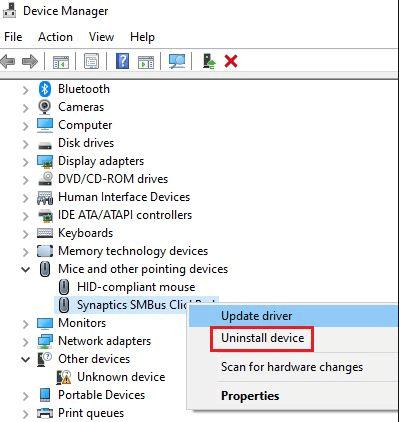 Gỡ cài đặt trình điều khiển touchpad để sửa Asus touchpad sẽ không hoạt động