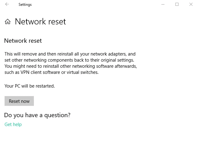 Reset the Network Settings to Fix Wifi Not Working Error