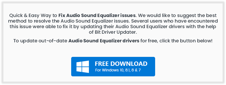 How to fix audio sound Equalizer issues