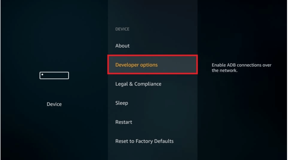 choose Developers option