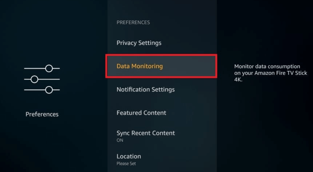 click on Data Monitoring