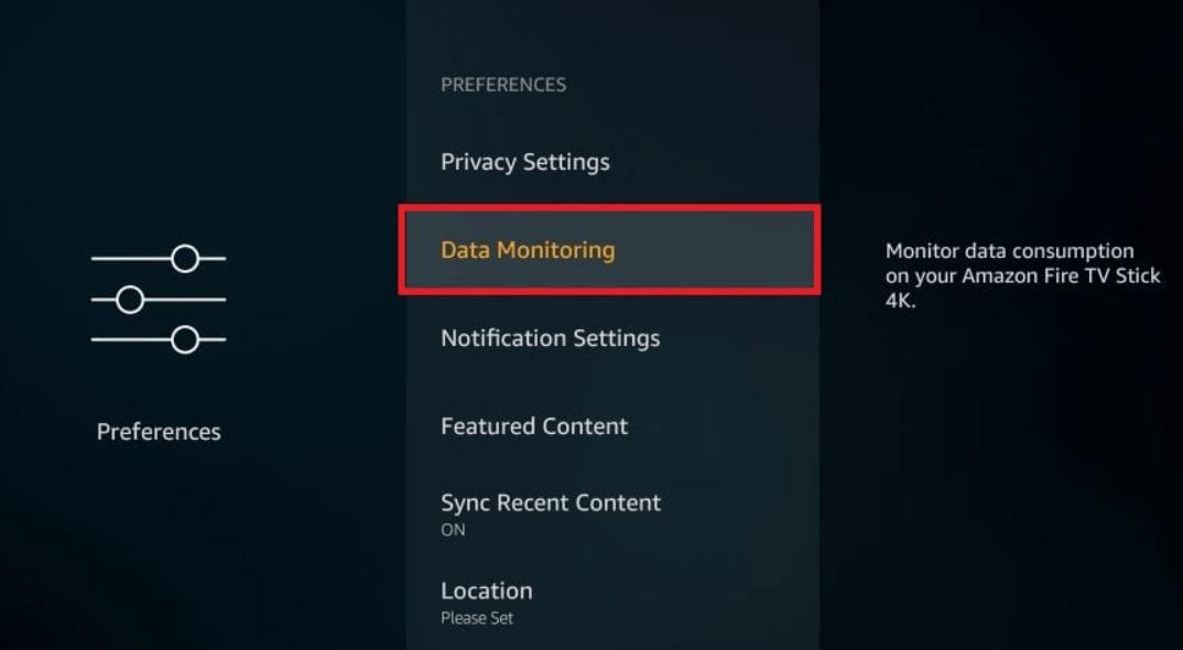 click on Data Monitoring
