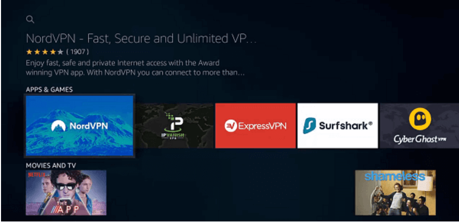 App Screen Select NordVPN