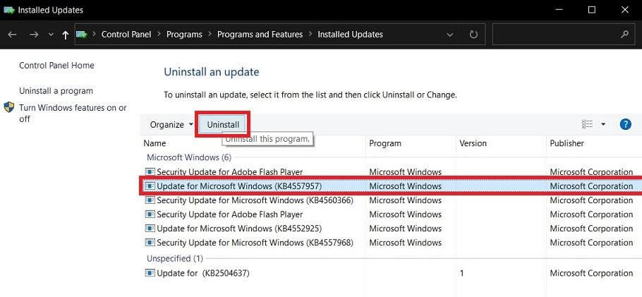 Uninstall Windows 10 Cumulative Updates - 1