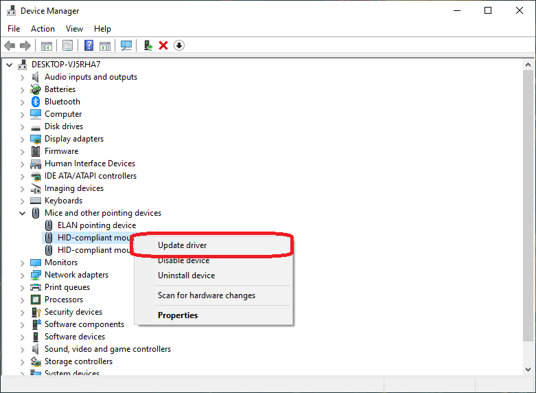 Reinstall The Wireless Mouse Driver