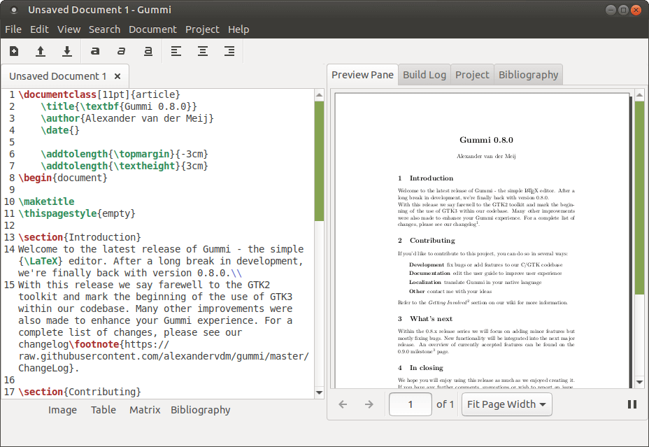 Gummi - LaTeX Text editor