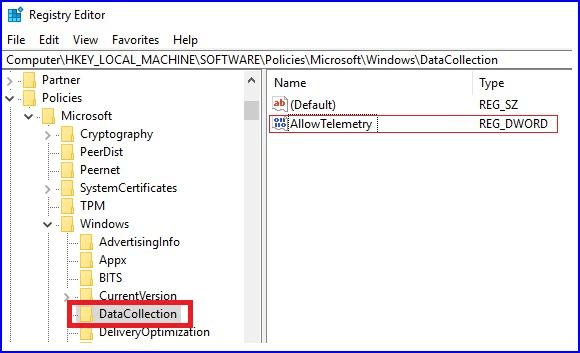 Open DataCollection folder and Click on AllowTelemetry