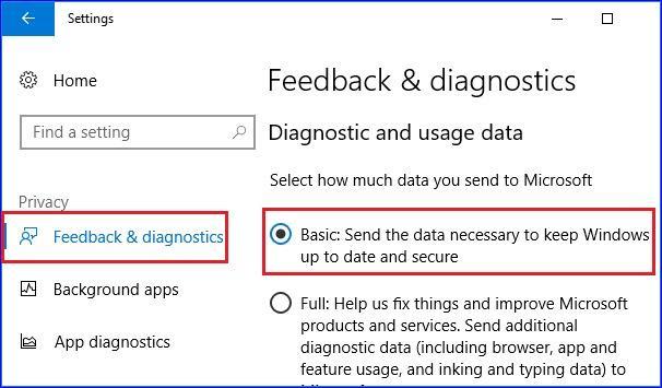 Set Diagnostics and usage data settings to basic