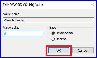 Edit DWORD Value AllowTelemetry