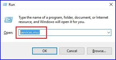 Type services.msc in Run Utility Box