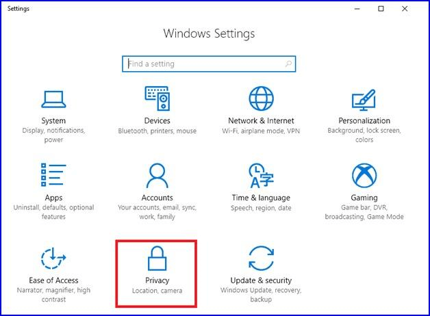 Open Windows settings and Select privacy option