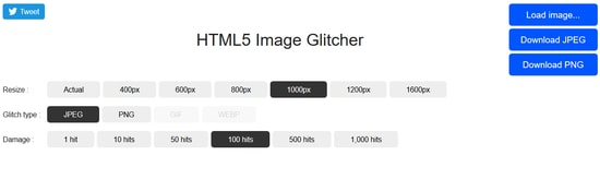 HTML5 Image Glitcher - Incredible Site Like Photomosh