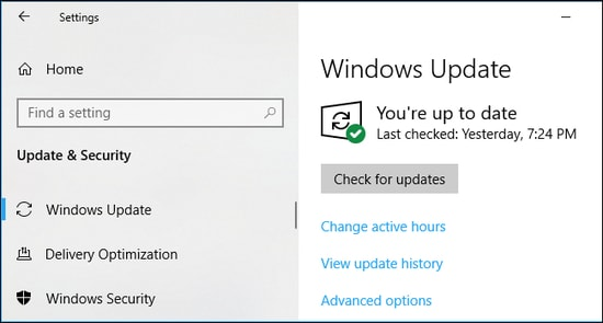 Check for Wifi Updates on windows settings