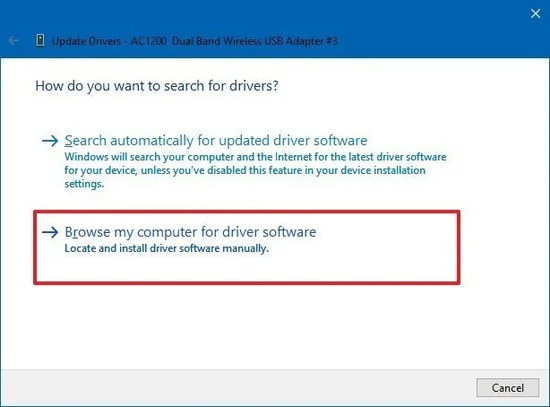 Search automatically for updated Wifi driver software