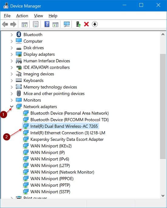 Update Wireless Wifi driver with Device Manager