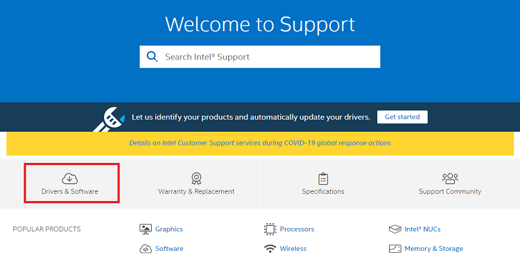 choose drivers & software in Intel website