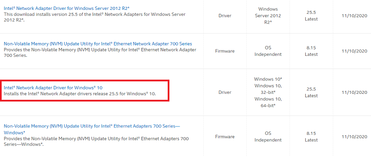 Select Intel Network Adapter Driver for Windows 10