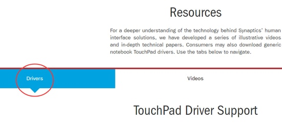 Manual Download of the Synaptics Touchpad Driver