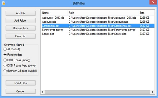 BitKiller - Good file shredders for Windows
