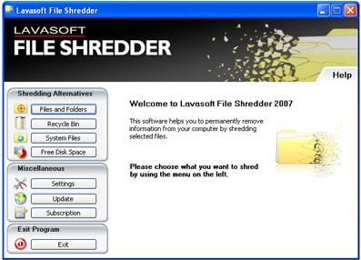 Lavasoft File Shredder software