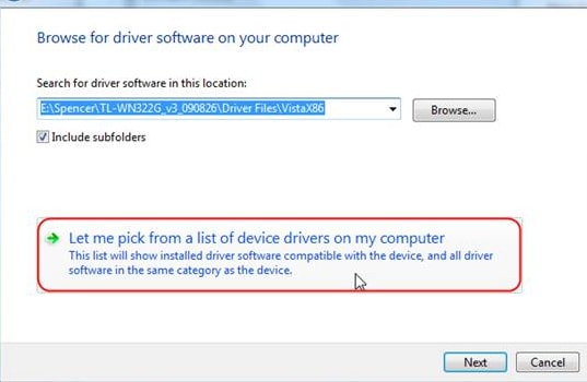 Let me pick from a list of device drivers on my computer option