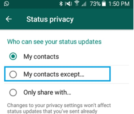 WhatsApp my contacts except