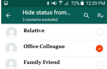 hide your WhatsApp status from selected contacts
