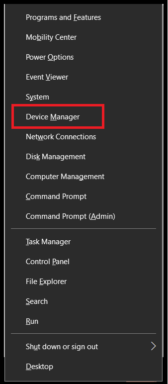 Hit Windows Logo and X key To Open Quick Access Menu Then Click On Device Manager Option