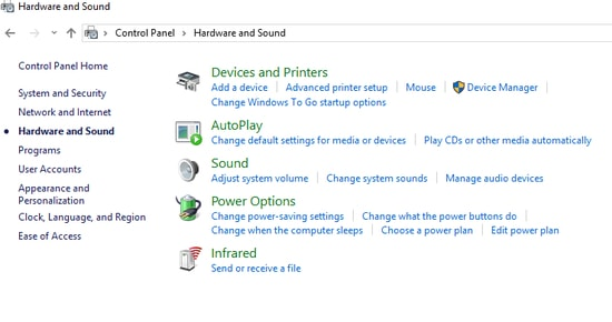 Open the Hardware option followed by the Sound Option