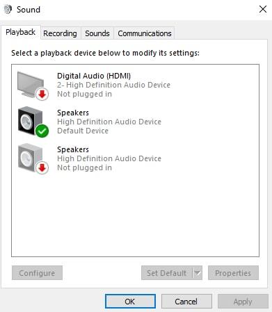 Select the Headphones Speakers tab