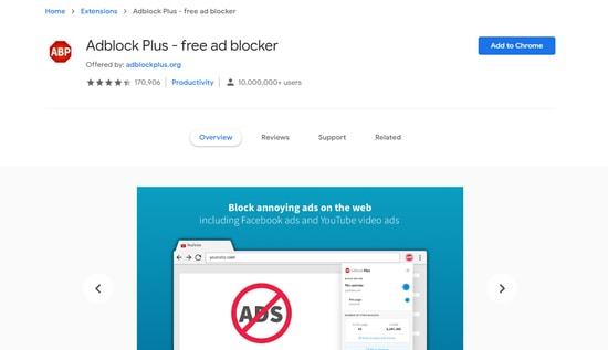 Adblock Plus chrome security extension