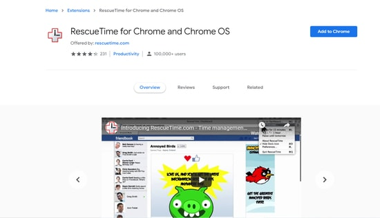Rescue Time - security extension for chrome browser