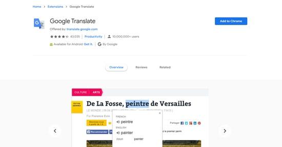 Google Translate - Best Google Chrome plugin