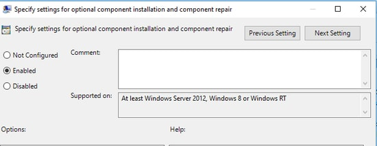 Specify settings for optional component installation and component repair