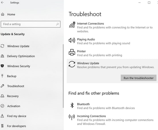 Run The Troubleshooter option