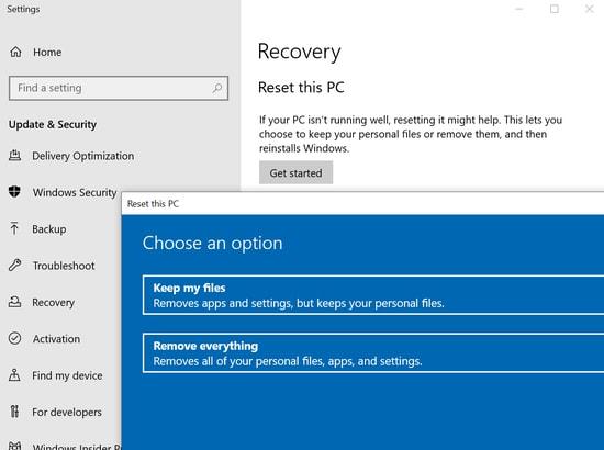 Reset Windows 10 to Resolve Error 0x800f0988
