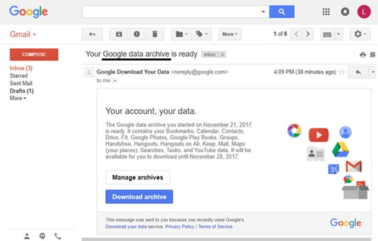 Create Gmail Data Archive