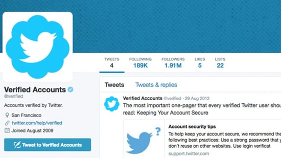 blue verified badge on Twitter account