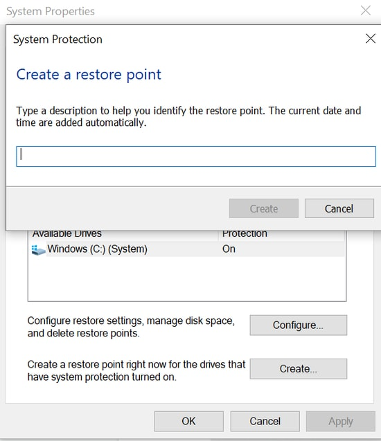 How to create a new system restore point