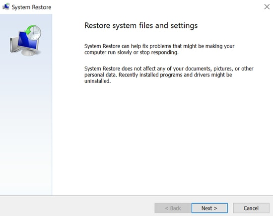 system restore files and settings