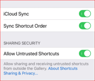 Enable Allow Untrusted Shortcuts