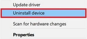 Choose Uninstall Device