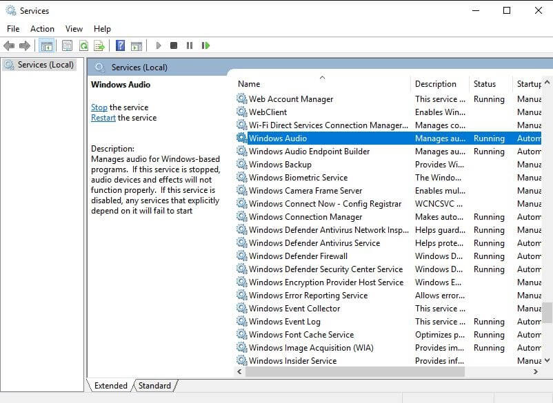 Navigate Windows Audio in Appeared List