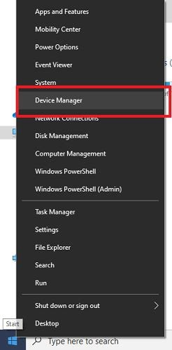 Right Click On Win Icon and Search For Device Manager