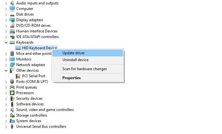 Right-Click On Update Driver Option