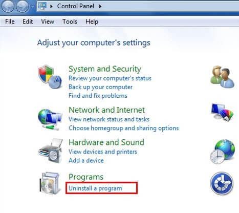 Click On The Uninstall A Program Under Programs