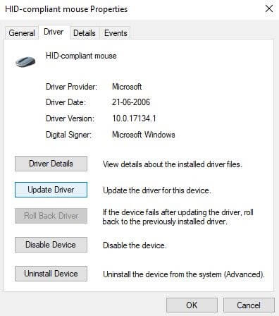 Switch to Driver Tab and Click On Update Driver