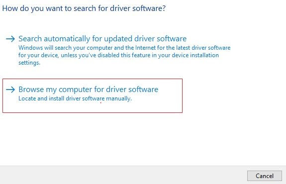 Choose Browse My Computer For Driver Software