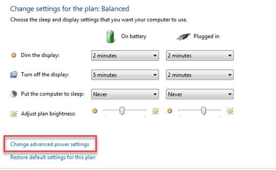 Click On Change Advanced Power Settings Tab